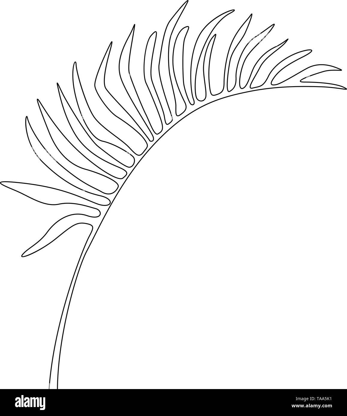 Eine Strichzeichnung areca Blatt. Durchgehende Linie exotische tropische Pflanzen. Stockbild
