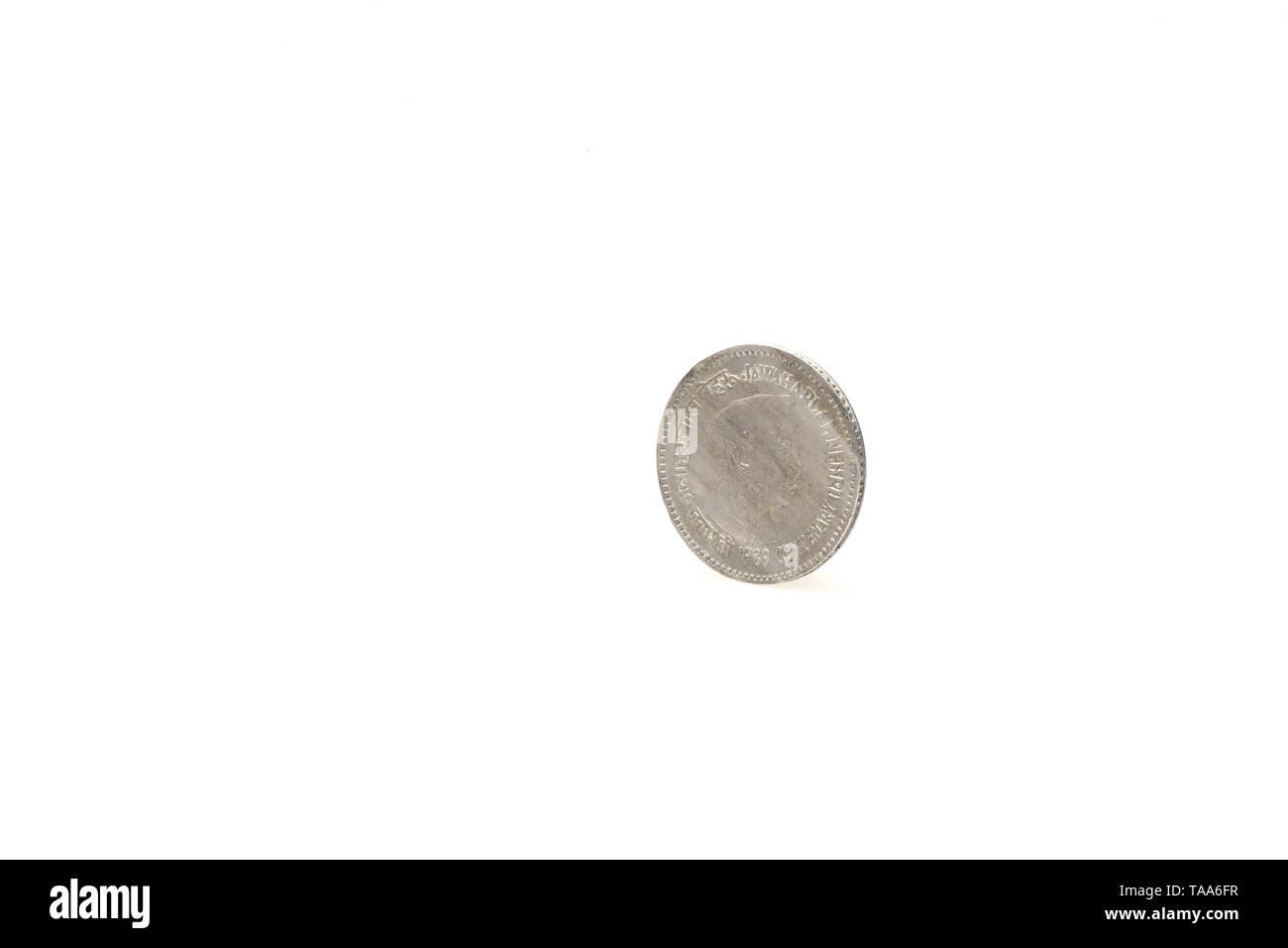 Eine Rupie Münze auf weißem Hintergrund, Indien, Asien, 1989 Stockbild