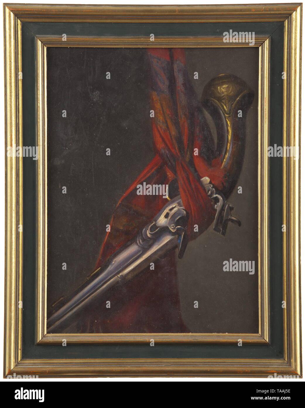 Malerei, Stillleben mit Pistole, Öl auf Pappe, Frankreich oder Spanien, ca. 1900,- Additional-Rights Clearance-Info - Not-Available Stockbild