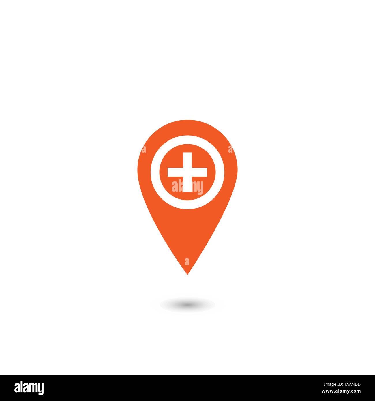 Kreuz Karte.Rote Zeichen Kreuz Karte Pin Symbol Krankenhaus Zeichen Vector