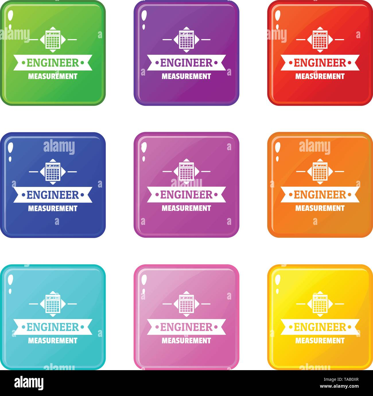 Taschenrechner Icons Set 9 Colour Collection Stockbild