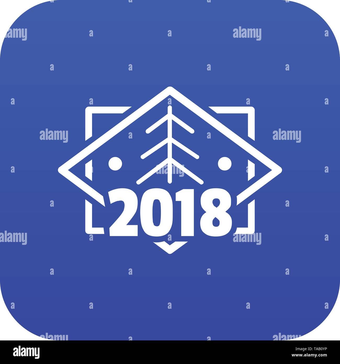 Retro Weihnachtsbaum Symbol blau Vektor Stockbild