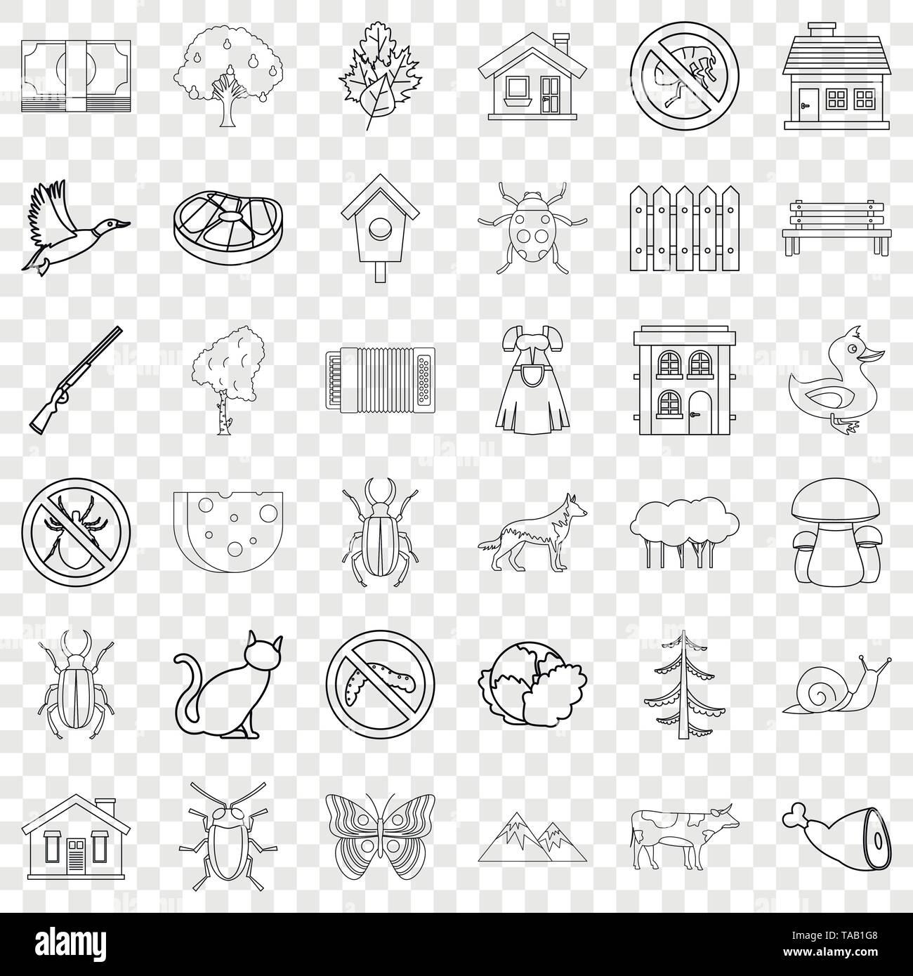 Landbau Icons Set, Stil skizzieren Stockbild