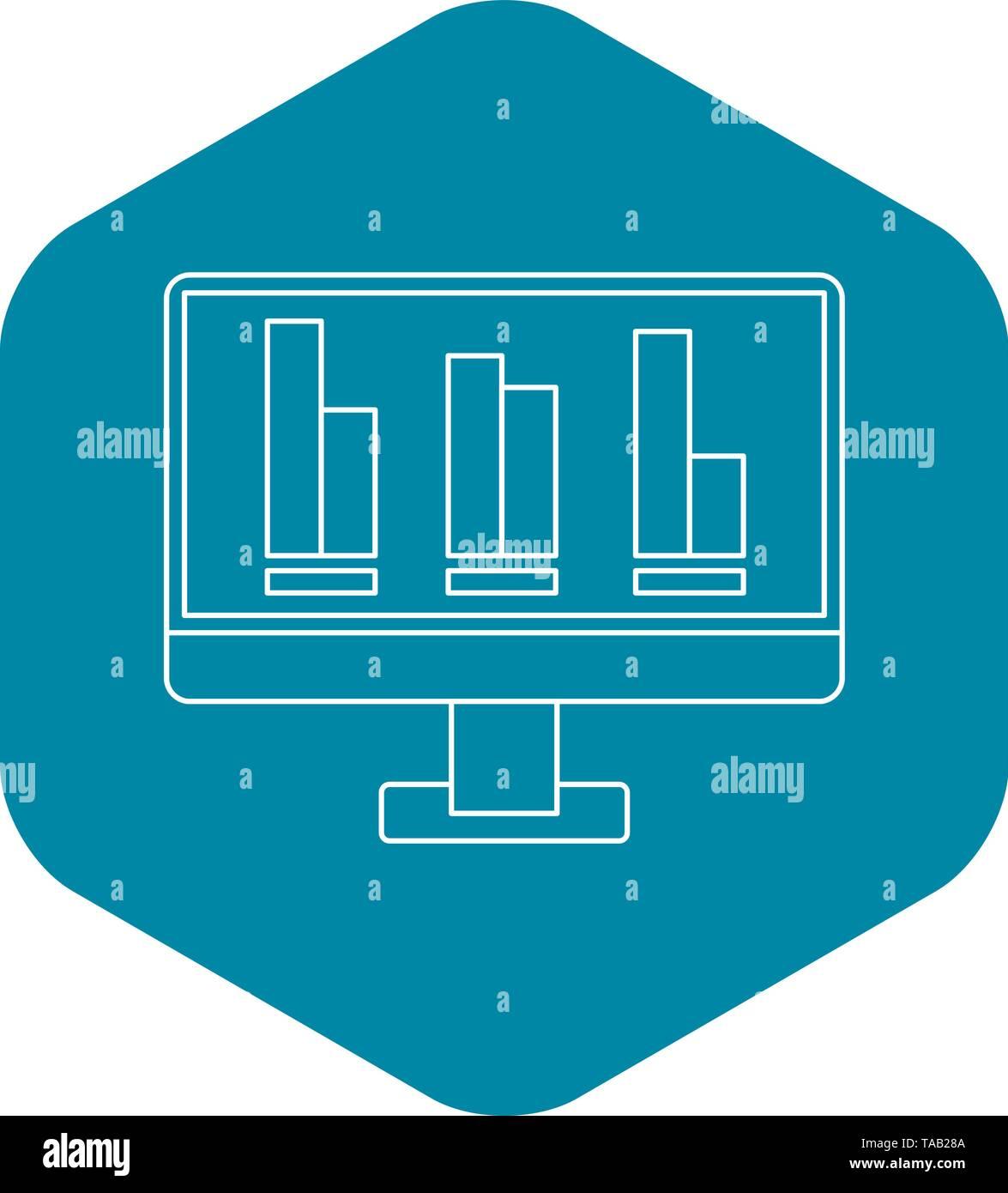 Wachsende Business-Grafik am Computer-Bildschirm-Symbol Stockbild