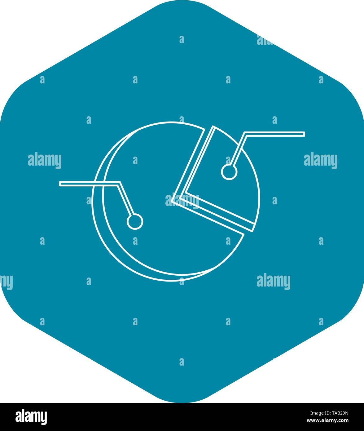 Pie-Grafik-Symbol, Umriss-Stil Stockbild