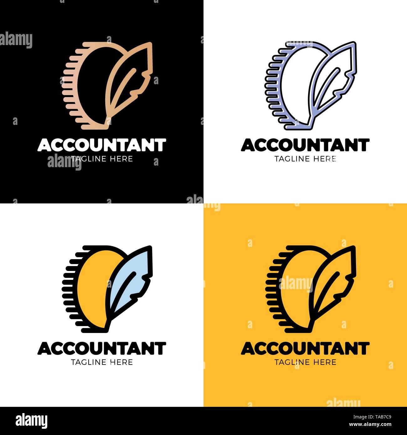 Münze Symbol mit Feder singen. Geld blog Verfasser logo oder Buchhalter Arbeiter. Stockbild