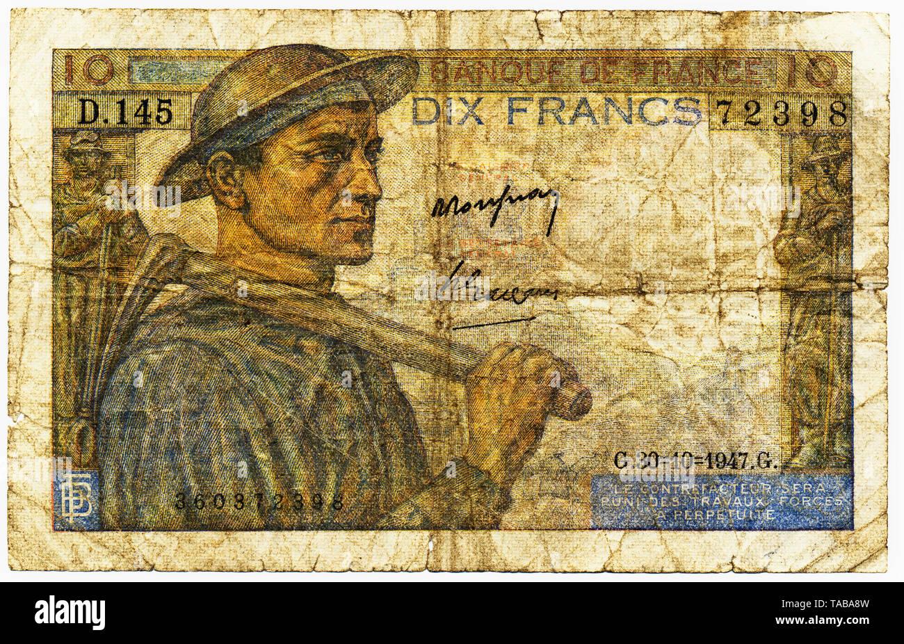 Historische Banknote, 10 Franken, 1942, Motiv Bergmann, Frankreich, Europa Stockbild