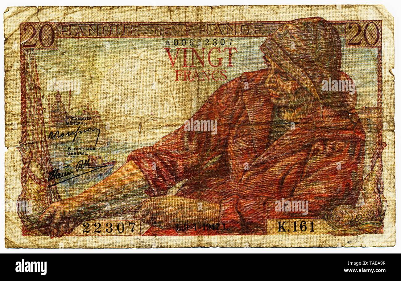 Historische Banknote, 20 Franken, 1947, Motiv Fischer, Frankreich, Europa Stockbild