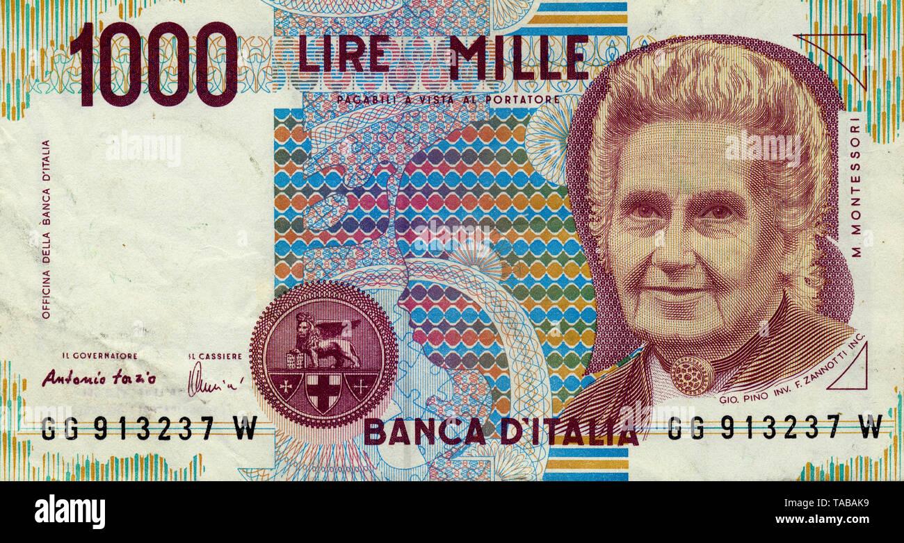 Banknote, 1000 Lire, Italienisch, Maria Montessori, 1990 Italien Stockbild
