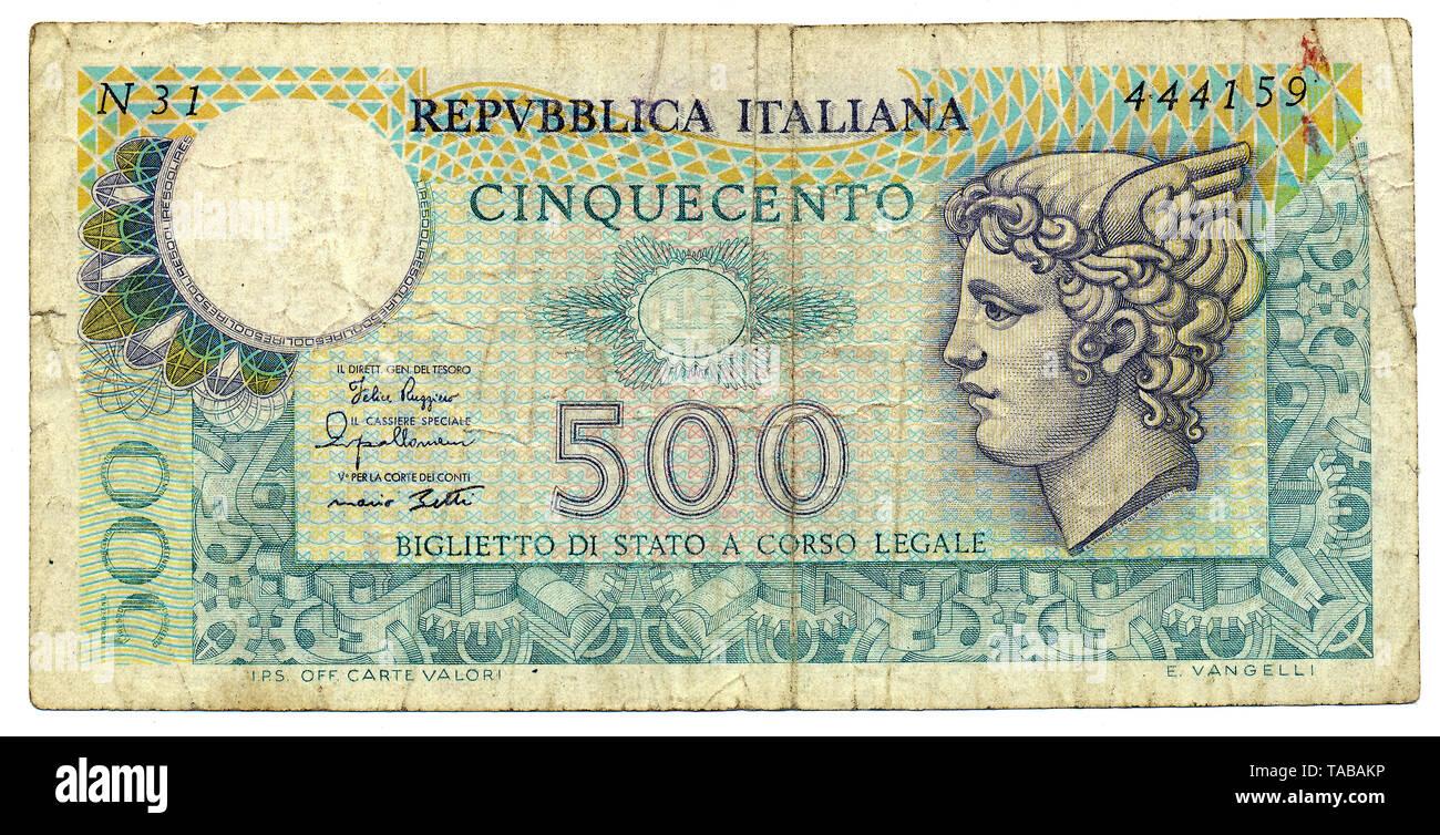 Banknote aus Italien, 500 Lire, Mercurio, 1974 Stockbild