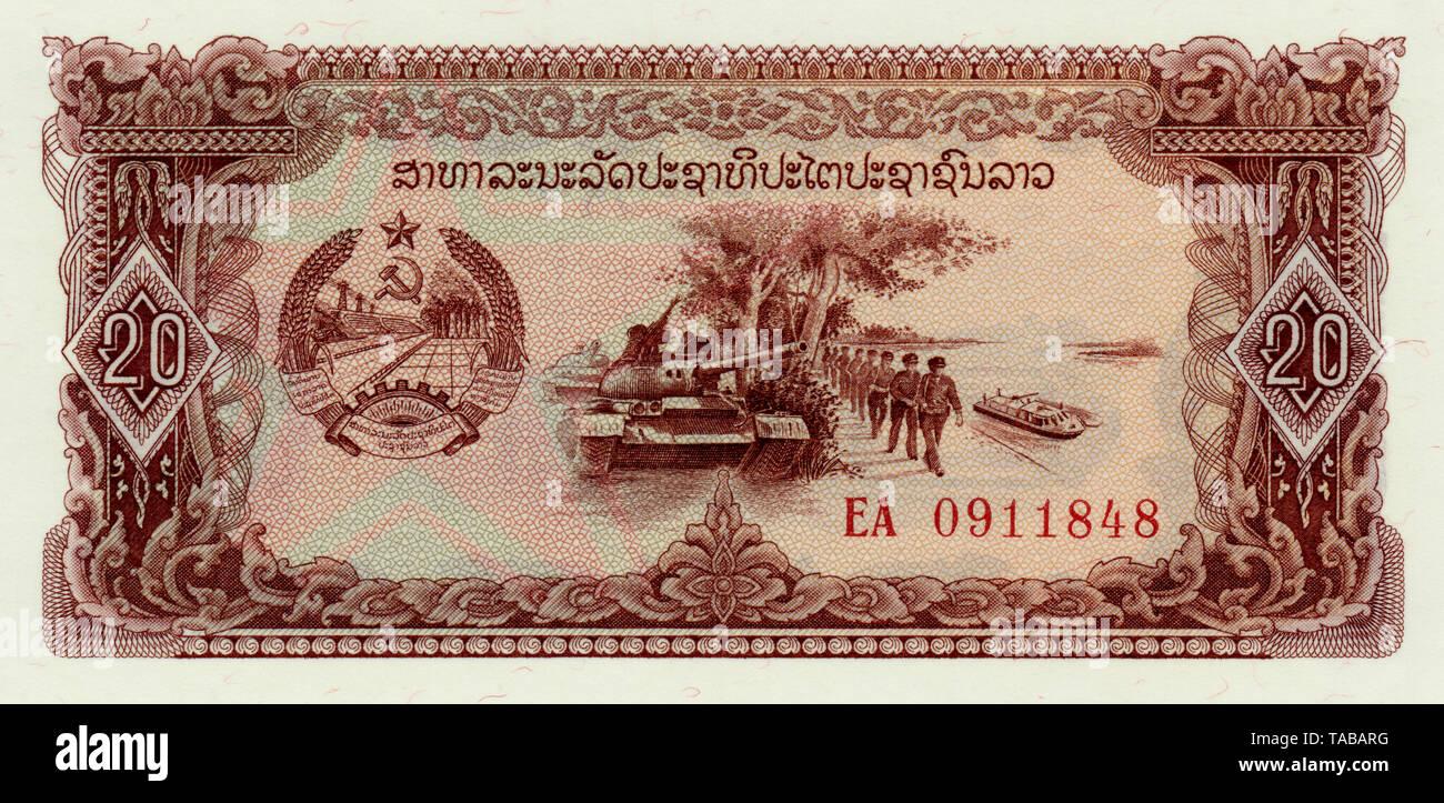 Banknote, 20 Kip, Militär, 1979, Laos, Asien Stockbild