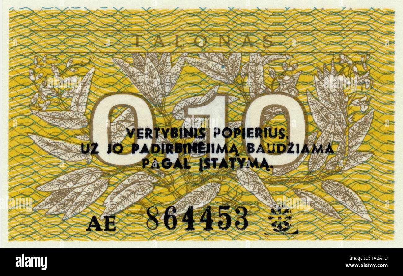 Banknote, 0,10 Talonas, 1991, Litauen, Europa Stockbild
