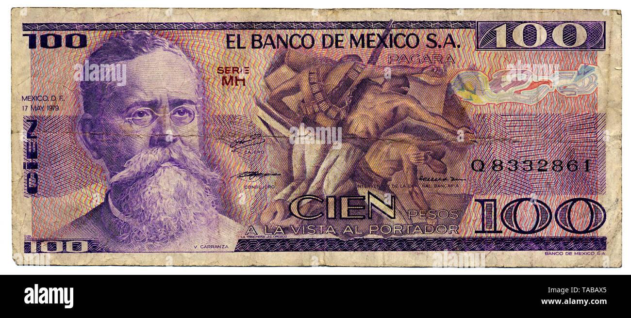 Historische Banknote, 100 Peso, Venustiano Carranza de La Garza, 1979, Mexiko Stockbild