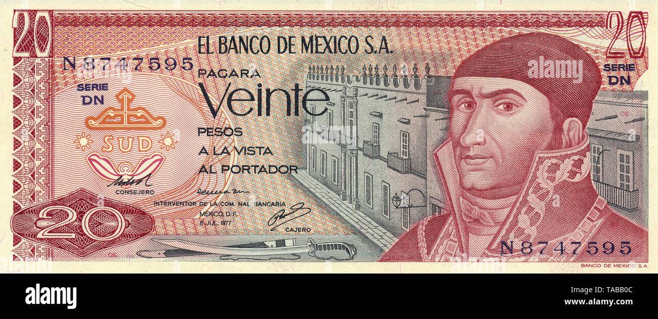 Banknote aus Mexiko, 20 Peso, José María Morelos y Pavón, 1977, Banknote aus Mexiko, 20 Peso, José María Morelos y Pavón Stockbild