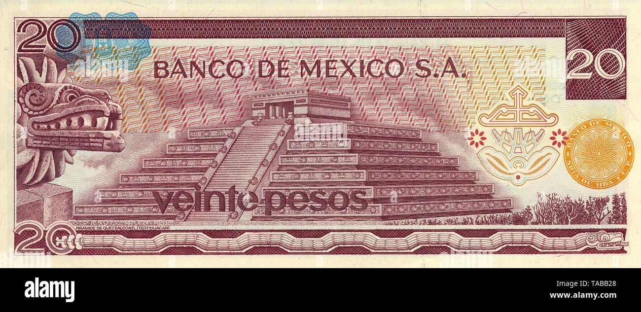 Banknote aus Mexiko, 20 Peso, sterben Quetzalcóatl Pyramide in Teotihuacán, 1977, Banknote aus Mexiko, 20 Peso, quetzalcóatl Pyramide in Teotihuacan, 1977 Stockbild