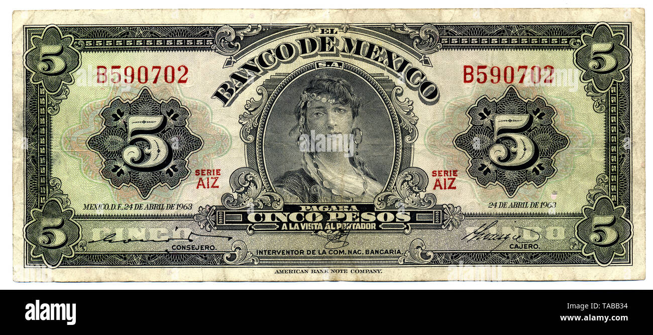 Historische Banknote, Mexiko, 5 Peso, 1963 Stockbild