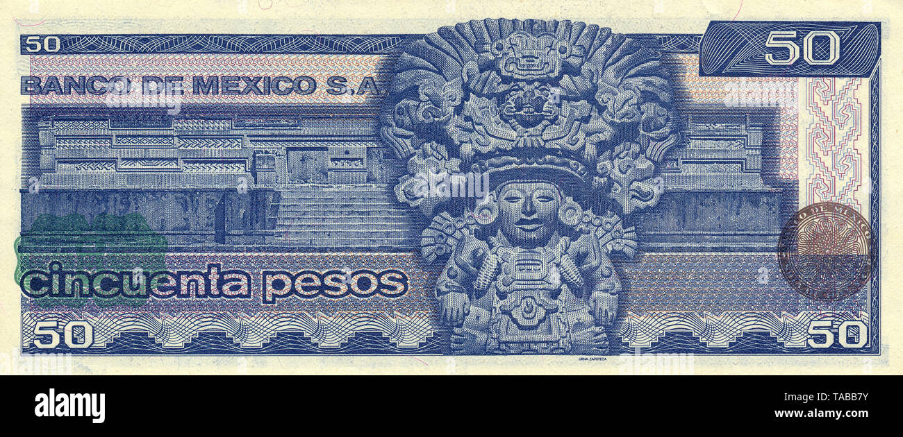 Banknote aus Mexiko, 50 Peso, Urna Zapoteca, aztekischer Gott der Zapoteken, 1981, Banknote aus Mexiko, 50 Peso, Urna Zapoteca, aztekischen Gott der Zapoteken, 1981 Stockbild