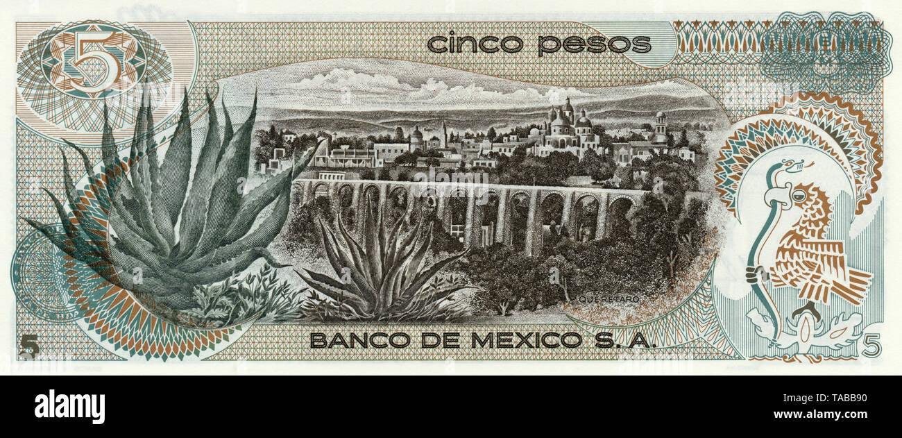Banknote, 5 Pesos, Mexiko, Santiago de Querétaro, 1969 Stockbild
