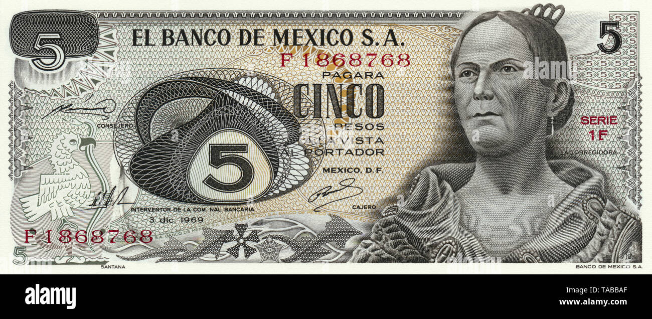 Banknote, 5 Pesos, Mexiko, sterben Nationalheldin Josefa Ortiz de Domínguez Oder La Corregidora, 1969 Stockbild
