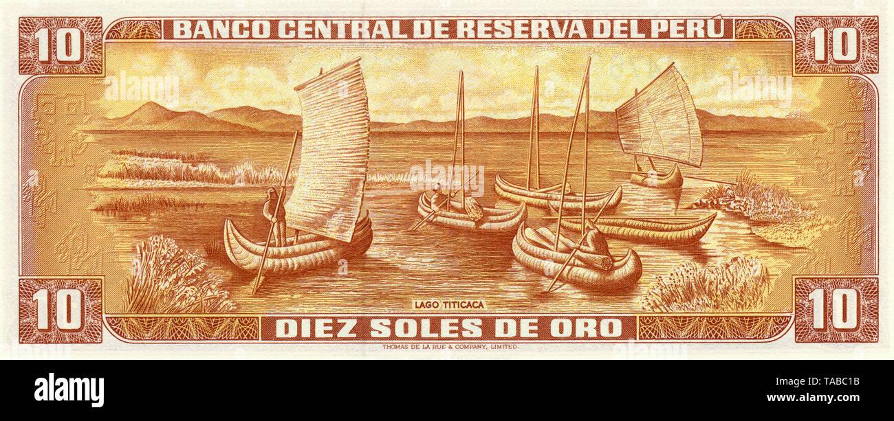 Banknote, Peru, 10 Sol, Boote aus Totora-Schilf Auf Dem Titicaca-See, 1976 Stockbild