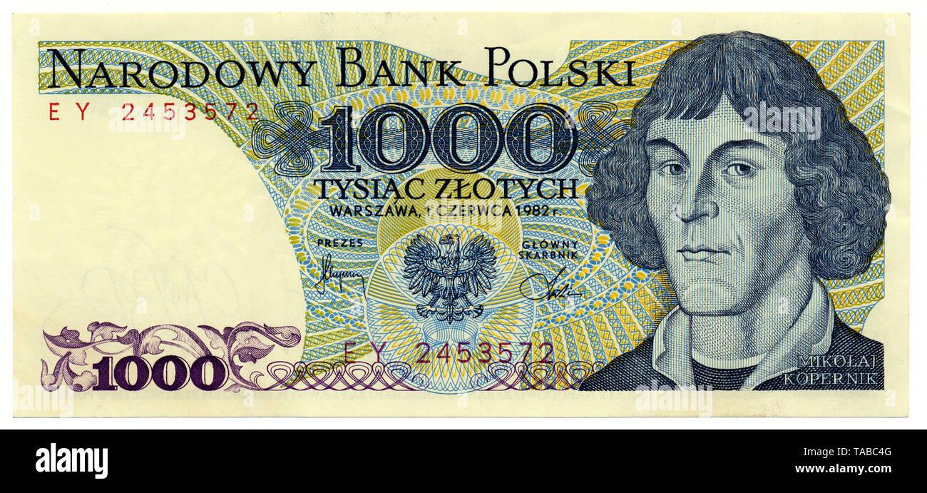 Historische Banknote, 1000 Zloty, Nikolaus Kopernikus, 1982, Polen, Europa Stockbild