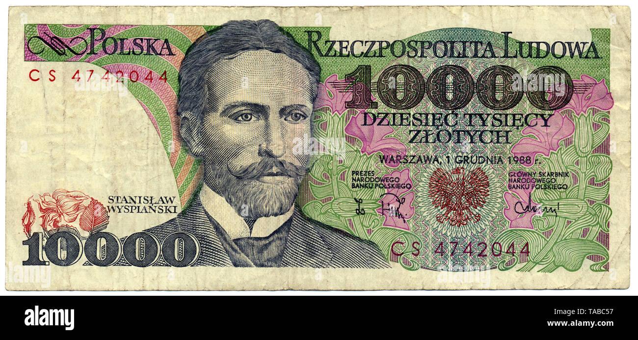 Historische Banknote, 10000 Zloty, Stanislaw Wyspianski, 1988, Polen, Europa Stockbild