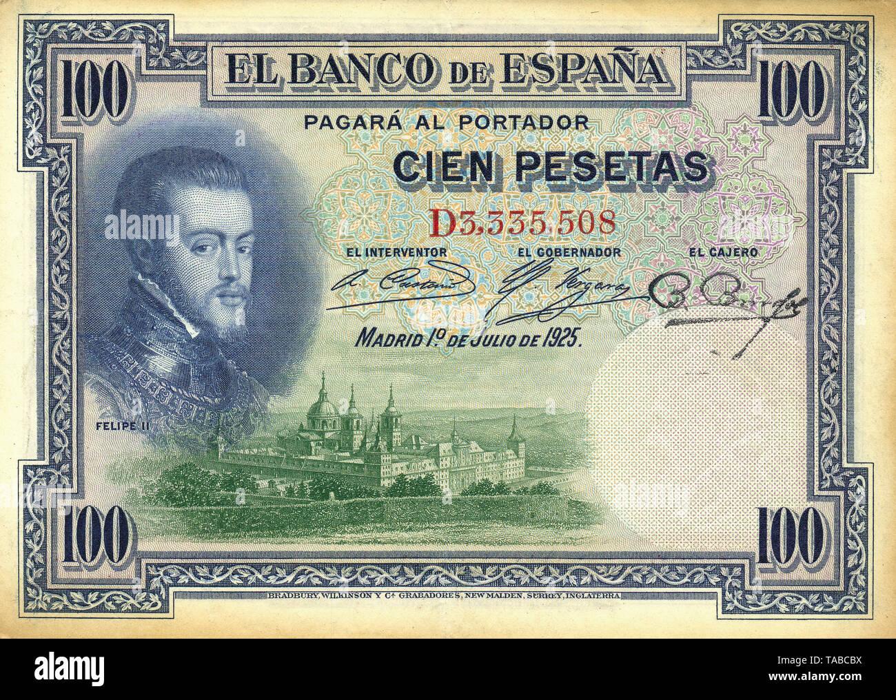 Banknote aus Spanien, 100 Peseten, Philipp II. von Spanien, Philipp II, 1925 Stockbild