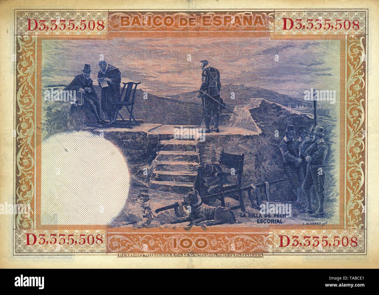 Banknote aus Spanien, 100 Peseten, Philipp II. von Spanien, Silla de Felipe II, El Escorial, 1925 Stockbild