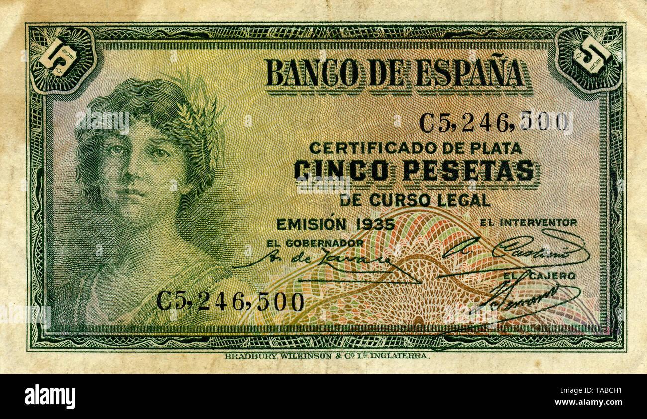 Banknote aus Spanien, 5 Peseten, 1935 Stockbild