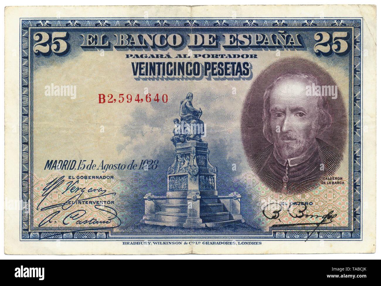 Historische Banknote, Spanien, Spanien, 25 Peseten, Neuhausen Dichter Pedro Calderón de la Barca Barreda Gonzalez y de Henao Ruiz de Blasco y Riaño, 1928 Stockbild
