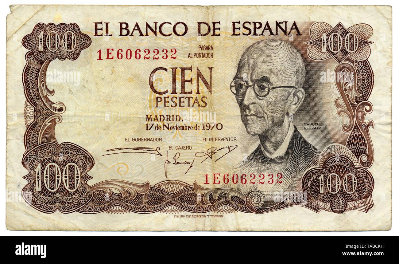 Historische Banknote, Spanien, 10 Peseten, der Spanischer Komponist Manuel María de Falla y Matheu, 1970 Stockbild