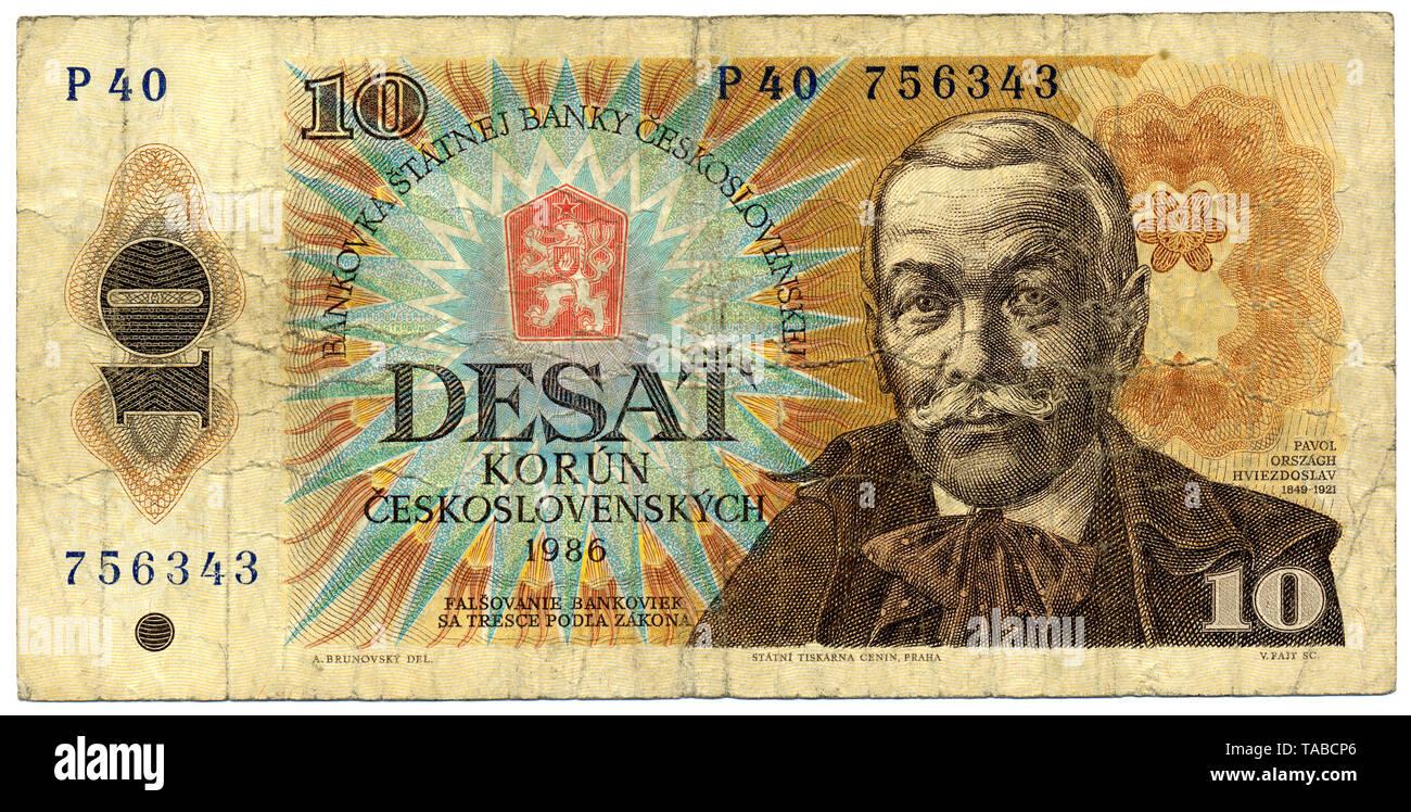 Historische Banknote, 10 Korun (Kronen), slowakischer Dichter Pavol Országh Hviezdoslav, 1986, Tschechoslowakei, Europa, historische Banknote, Tschechische Krone, der Tschechoslowakei Stockbild