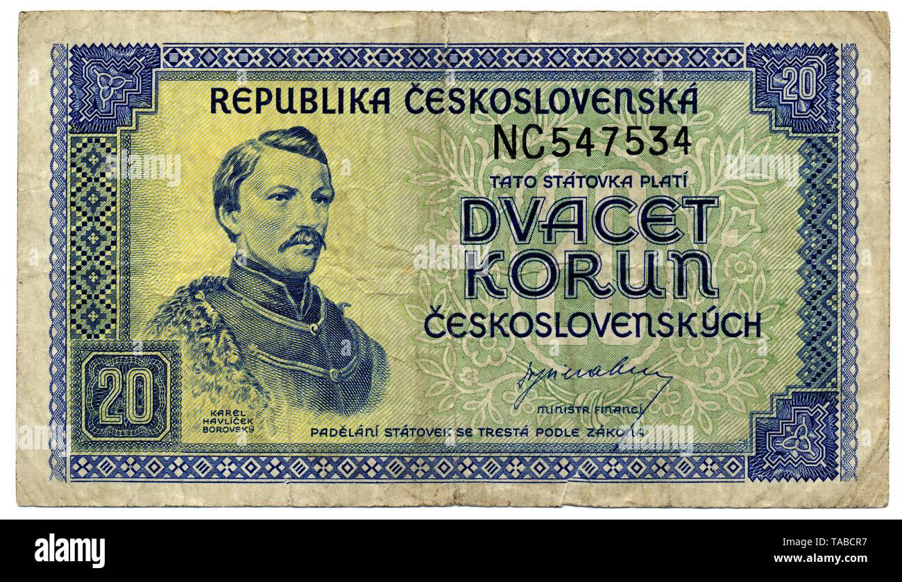 Historische Banknote, 20 Korun (Kronen), der tschechische Dichter Karel Havlicek Borovsky, 1945, Tschechoslowakei, Europa, historische Banknote, Tschechische Krone, der Tschechoslowakei Stockbild