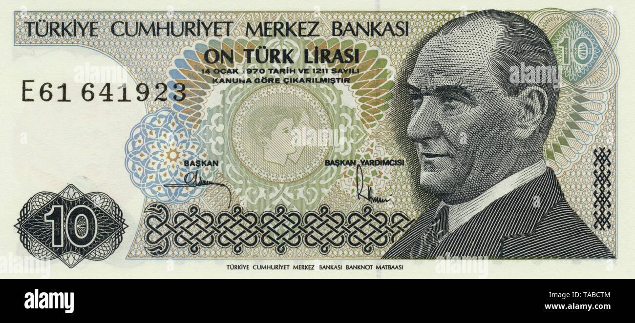 Banknote aus der Sprache 10 Lira, Kemal Atatürk, 1982, Banknote aus der Türkei Stockbild