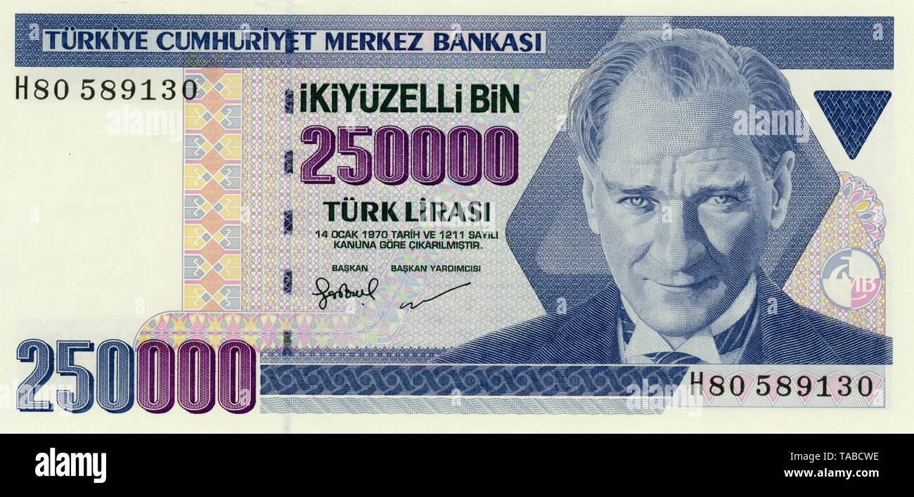 Banknote, 250000 Lire, Mustafa Kemal Atatürk, Türkei, 1970, Bank Note aus der Türkei Stockbild