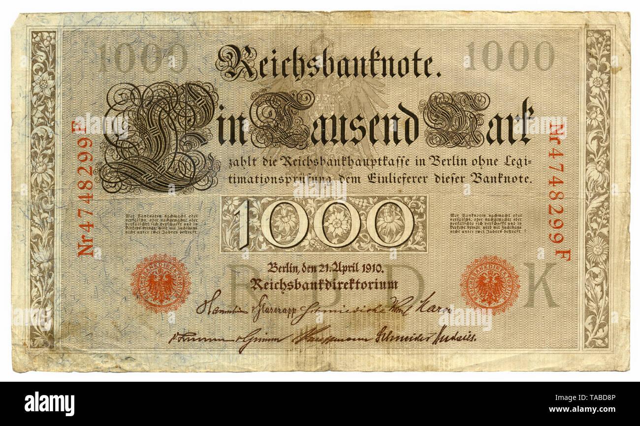 Vor der Reichsbank Banknote, Vorderseite, Reichsbanknote 1000 Mark, 1910, Deutschland, Europa Stockbild