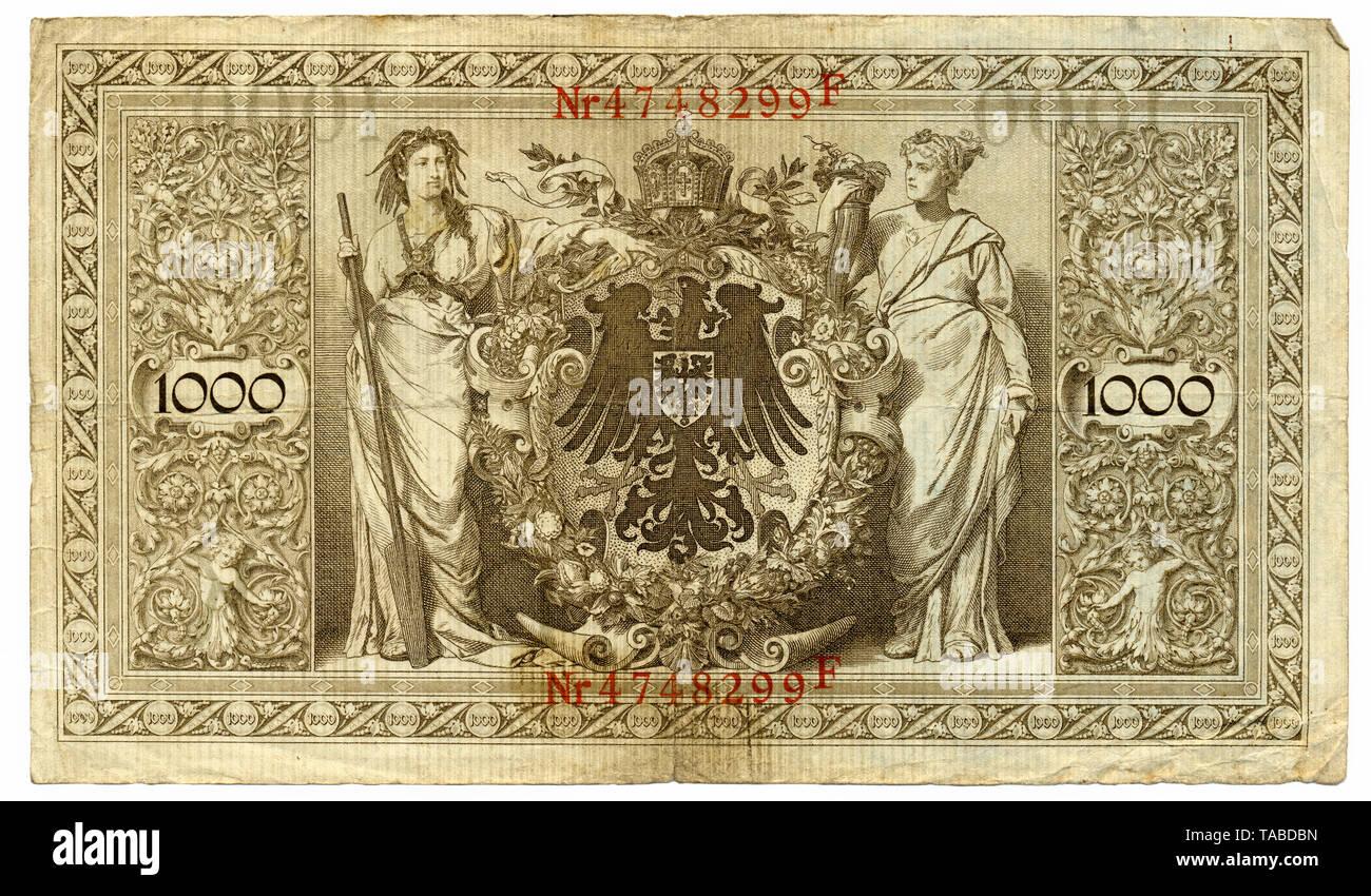 Rückseite der Reichsbank Banknote, Rückseite, Reichsbanknote 1000 Mark, 1910, Deutschland, Europa Stockbild
