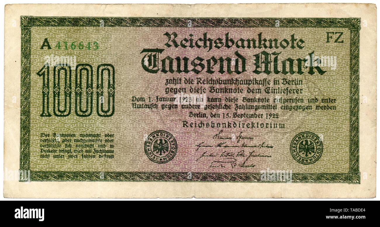 Historischer Geldschein, Reichsbanknote 1000 Mark, 1922, Deutschland, Europa Stockbild