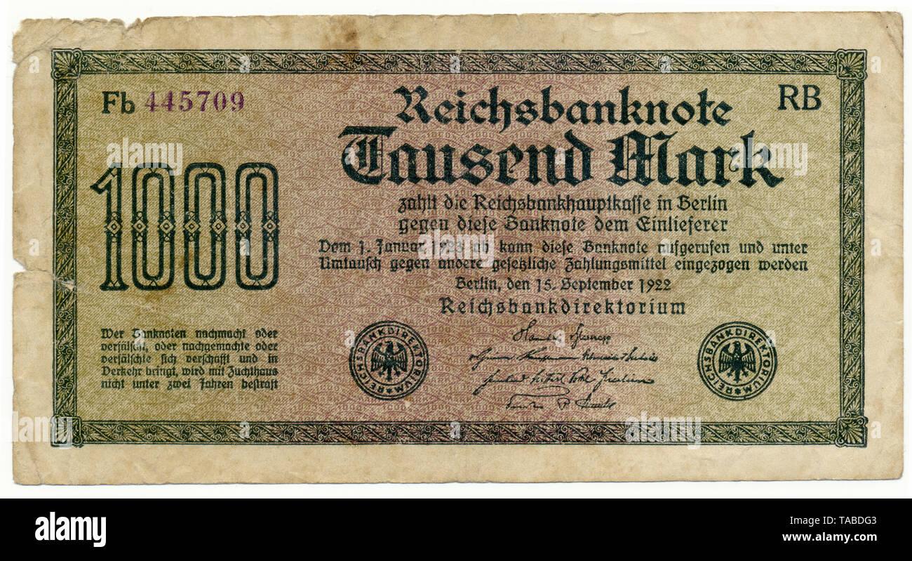 Vor der Reichsbank Banknote, Vorderseite einer Banknote, Reichsbanknote 1000 Mark 1922 Inflationsgeld, Deutschland, Europa Stockbild