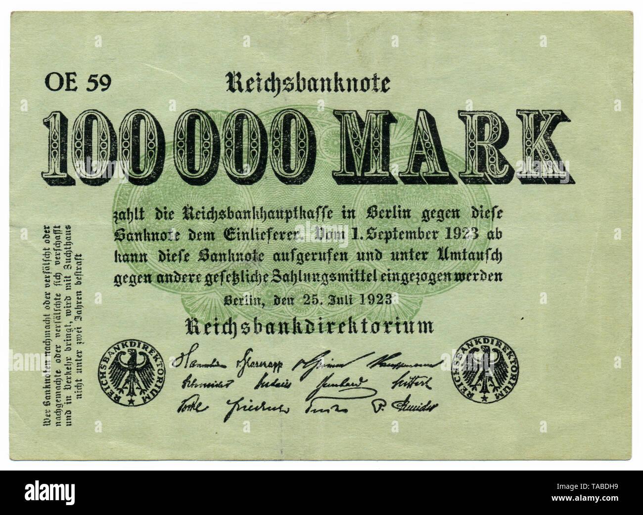 Historischer Geldschein, Reichsbanknote, 100000 Mark, 1923, Inflationsgeld, Deutschland, Europa Stockbild