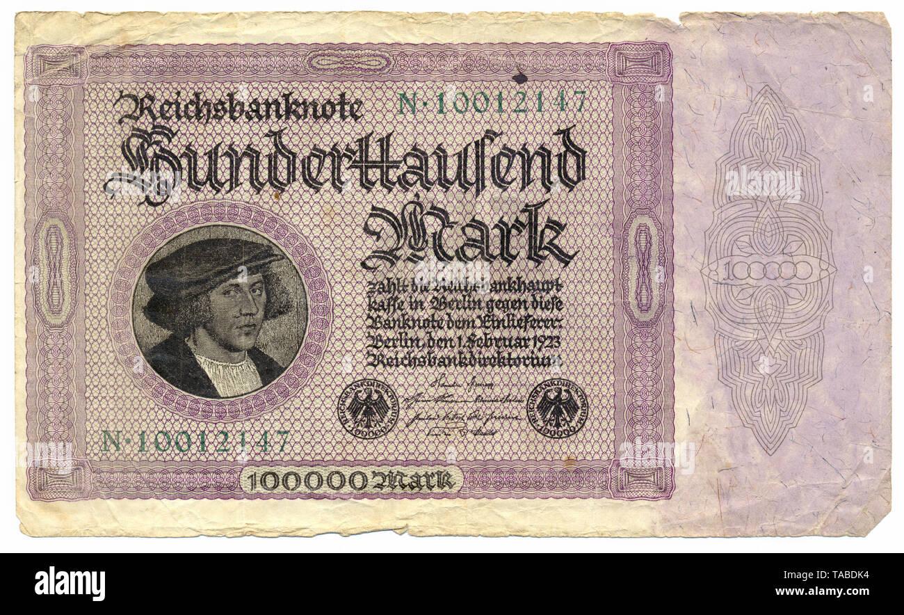 Vor der Reichsbank Banknote, Vorderseite einer Banknote,, 100000 Mark Reichsbanknote 1923, Inflationsgeld, Deutschland, Europa Stockbild