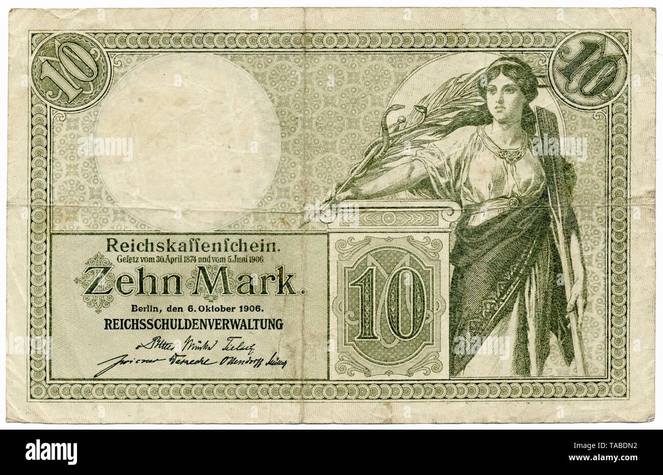 Rückseite der Reichsbank Banknote, Rückseite, Reichskassenschein, Reichsbanknote, 10 Mark, 1906, Deutschland, Europa Stockbild