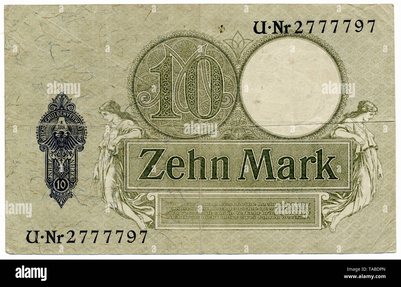 Rückseite der Reichsbank Banknote, Reichskassenschein, Reichsbanknote, 10 Mark, 1906, Deutschland, Europa Stockbild