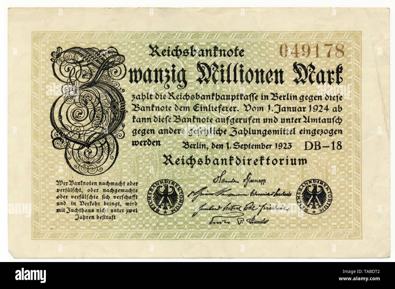 Vor der Reichsbank Banknote, Vorderseite einer Banknote, Reichsbanknote, 20 Millionen Mark, 1923, Inflationsgeld, Deutschland, Europa Stockbild