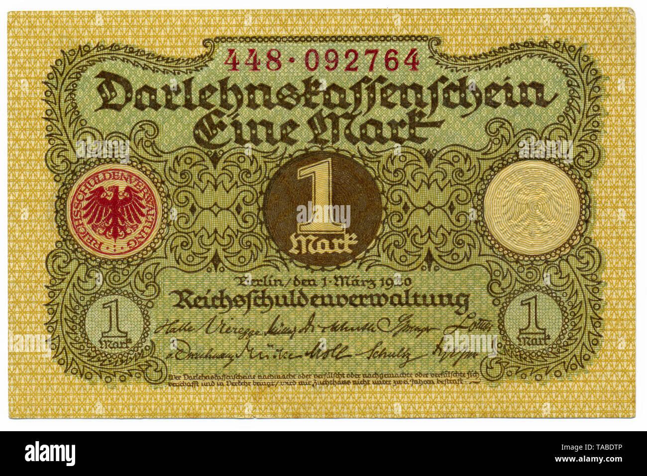 Historischer Geldschein, Darlehnskassenschein, Reichsschuldenverwaltung, 1 Mark, 1920, Deutschland, Europa Stockbild