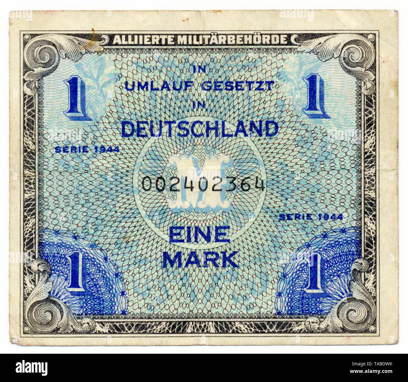Vor einer Banknote, Alliierte Besetzung, Alliierte Besatzung, 1 Mark, 1944, Deutschland, Europa Stockbild