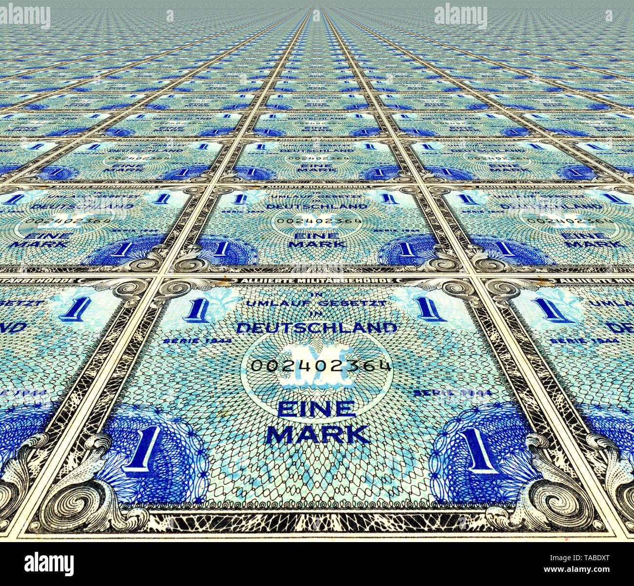 Vor einer Banknote, Alliierte Besetzung, Muster, Vorderseite einer Banknote, perspektivische Wiederholung, Alliierte Besatzung, 1 Mark, 1944, Deutschland, Europa Stockbild