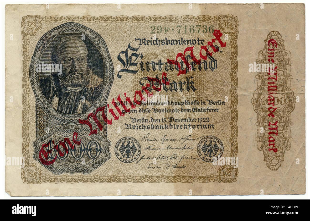Vor der Reichsbank Banknote, Vorderseite einer Banknote, Reichsbanknote 1000 Mark überdruckt mit 1 Millionen Mark, 1922, Inflationsgeld, Deutschland, Europa Stockbild