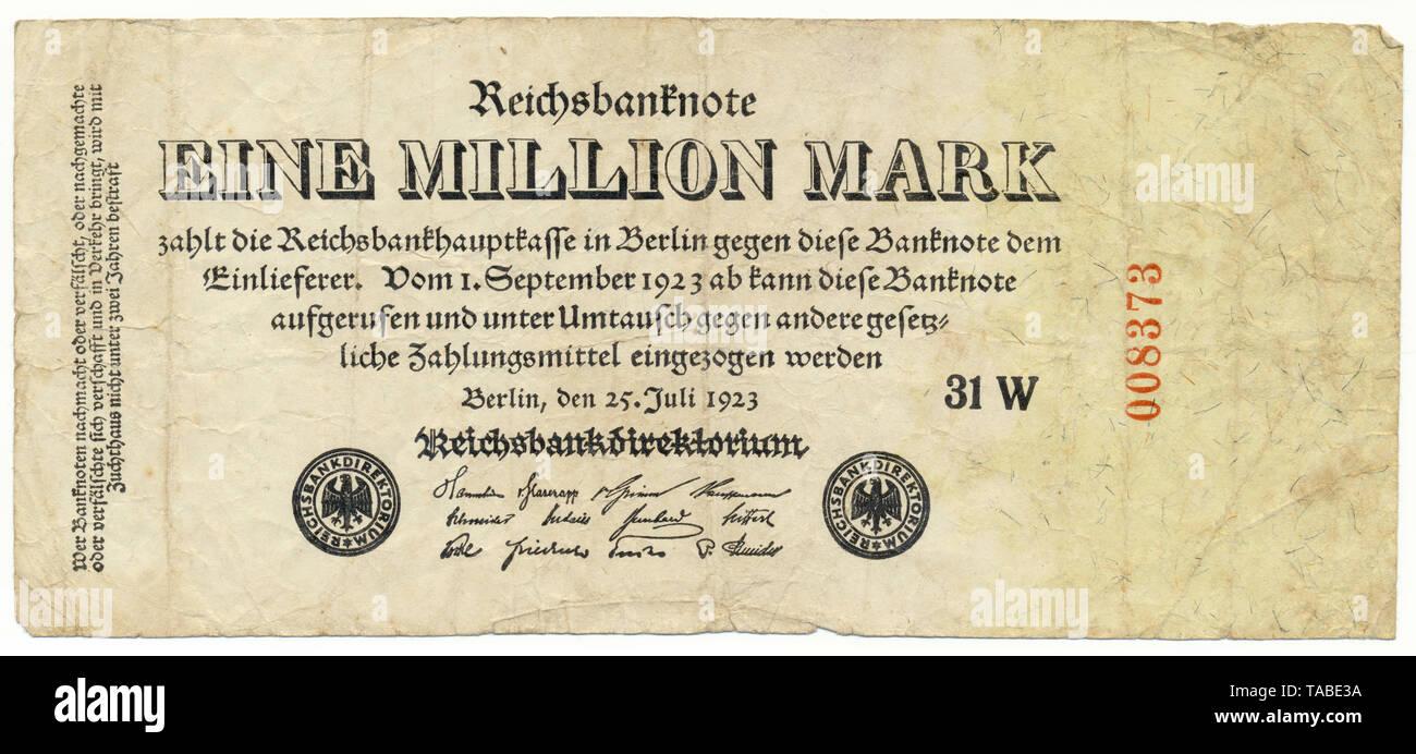 Vor der Reichsbank Banknote, Vorderseite einer Banknote, Reichsbanknote, 1 Millionen Mark, 1923, Inflationsgeld, Deutschland, Europa Stockbild