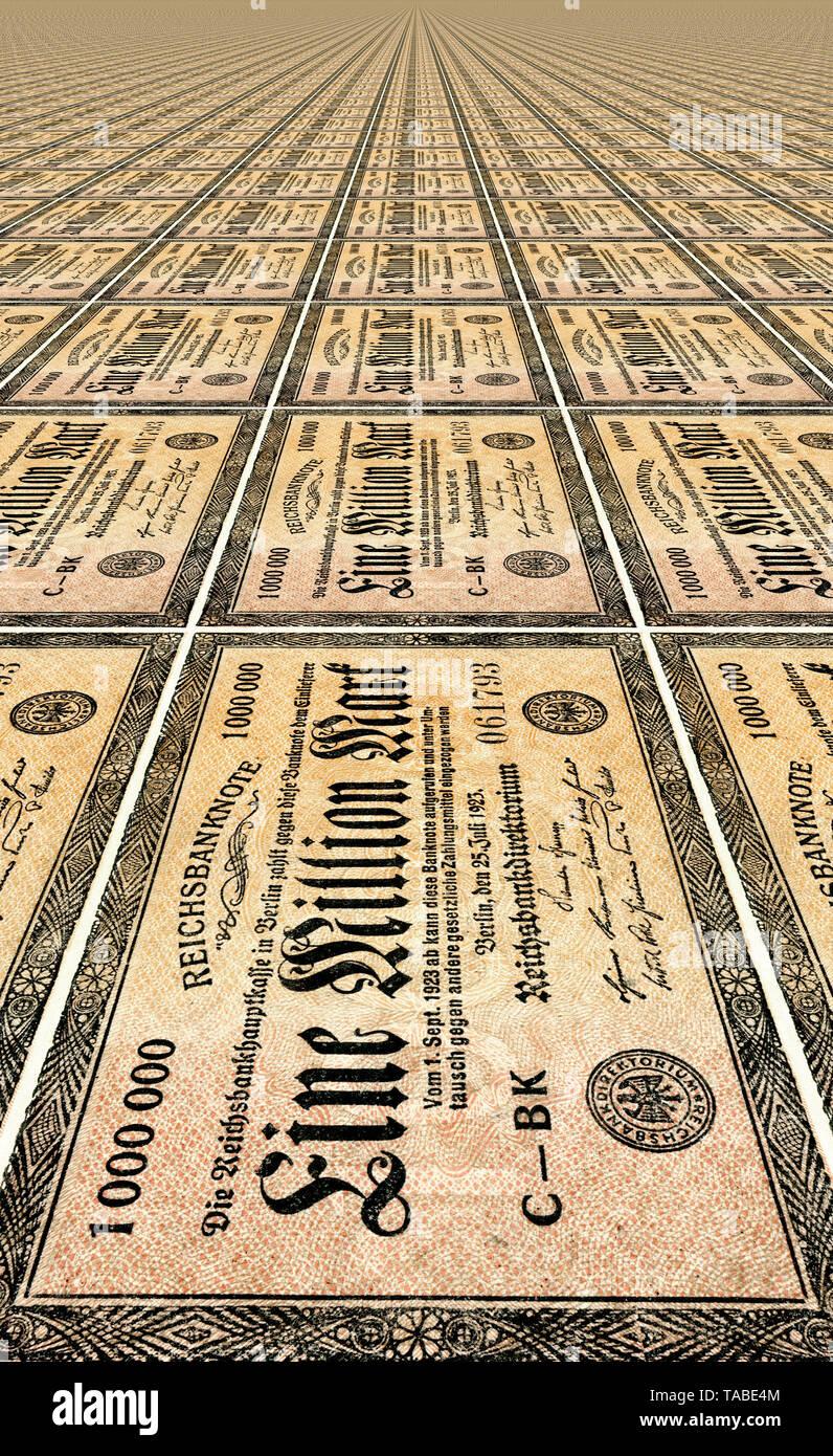 Vor der Reichsbank Banknote, Muster, Vorderseite einer Banknote, perspektivische Wiederholung, Reichsbanknote, 1 Millionen Mark, 1923, Inflationsgeld, Deutschland, Europa Stockbild